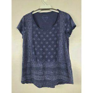 Lucky Brand Womens T Shirt Blue Short Sleeve Top M